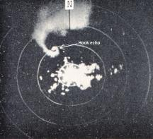 A view of the hook echo associated with the Meriden, Kansas, tornado. Observed by the Topeka Weather Bureau WSR-3 radar. 1831 CST May 19, 1960.