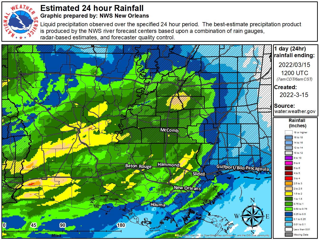 Image of 24-hr rainfall for Louisiana.