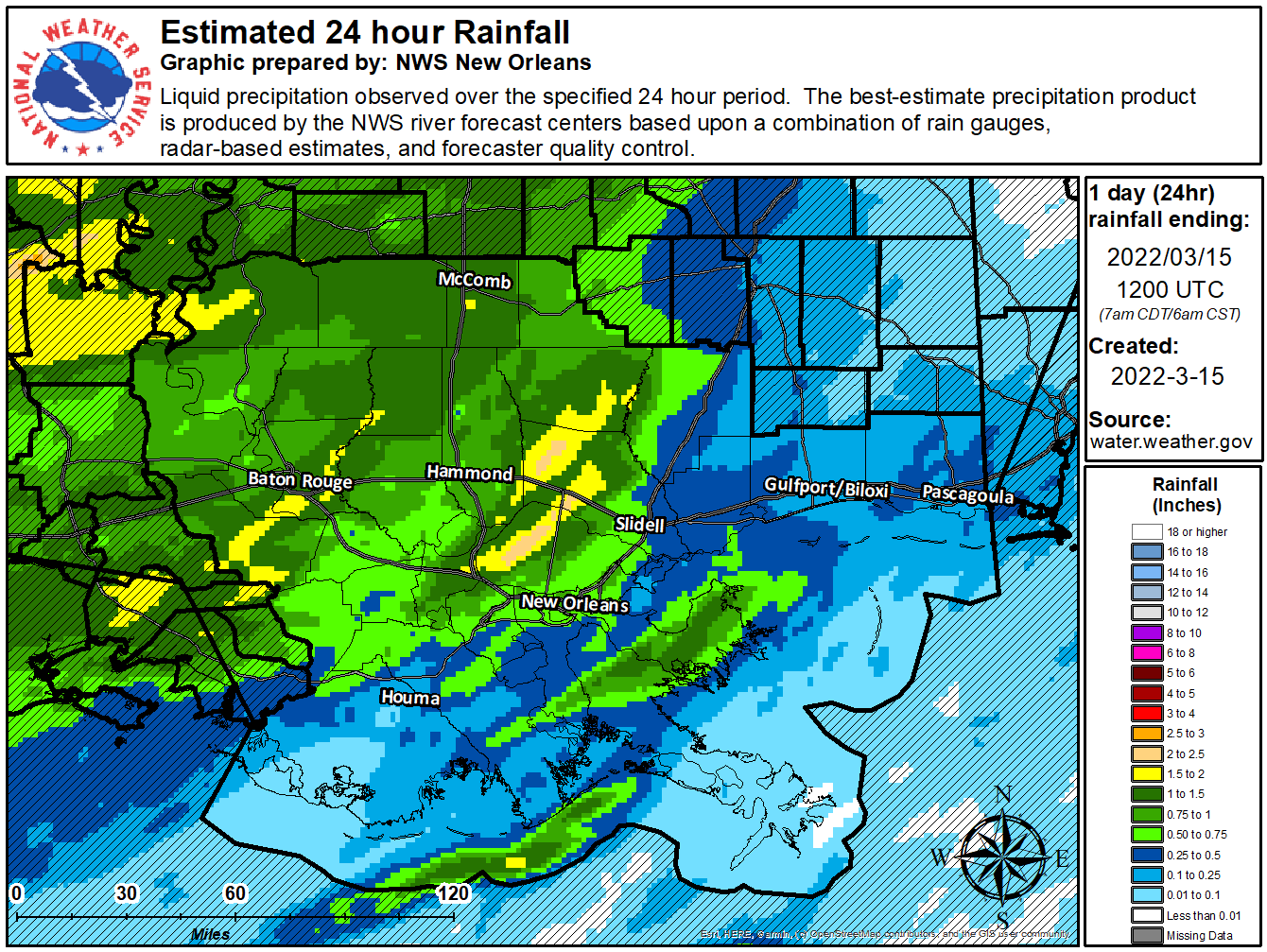 Image of 24-hr rainfall for the WFO LIX service area