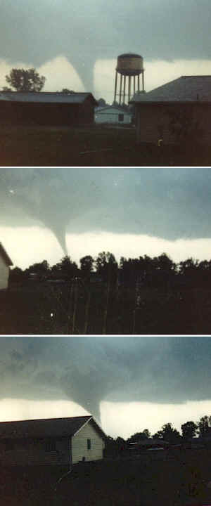 Photos of the tornado taken from the southern portion of Herrin, Illinois, looking south-southeast toward Route 13.  Photos courtesy of Bill May, Herrin businessman and resident.